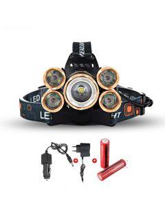 LED-koplamp 5000 Lumen High Power LED Koplamp Boruit 5Xcree XM-L 4 MODE KOPLAMP-COMPLETE SET