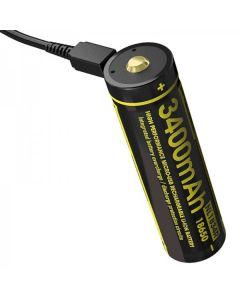 NIMECORE NL1834R 3.6V High Performance Micro-USB 18650 oplaadbare batterij