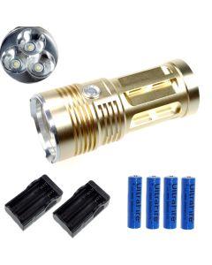 EternalFire King 3T6 3 * CREE XM-L T6 LED Torch 3000 Lumens 3-modi LED-flitslicht-Glod-Complete set