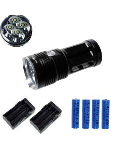 EternalFire King 4T6 4 * CREE XM-L T6 LED Torch 4000 Lumens 3-modi LED-zaklamp-zwart-complete set