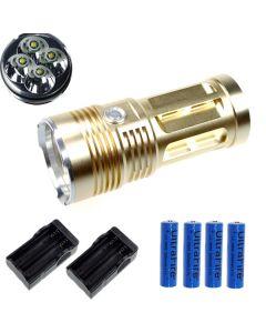 EternalFire King 4T6 4 * CREE XM-L T6 LED-torch 4000 Lumens 3-modi LED Zaklamp-Glod-Complete Set