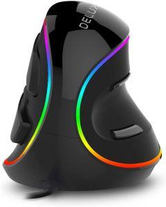 Delux M618 Plus ergonomie Verticale gaming muis 6 knoppen 4000 DPI RGB bedrade / draadloze rechterhand muizen voor pc laptopcomputer
