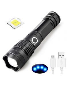 USB oplaadbare zaklamp XHP50 LED Light 5 modi 26650/18650 zoomable zaklamp