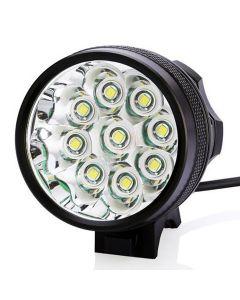 9T6 Fietsverlichting 9 * CREE XM-L T6 10800 Lumen 3 Modi LED Fietskoplamp Inclusief batterij en oplader - Zwart