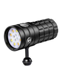 NiteBeam UV 395-400nm Duikzaklamp 8 XHP50 Wit licht / 4x Rood Licht / 4x UV-licht LED Duikfakkel Zaklamp