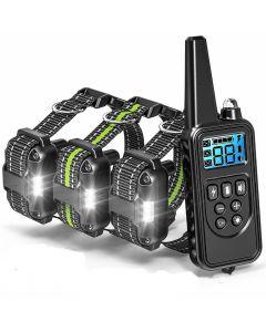 800m Elektrische Dog Trainingskraag met LCD-scherm PET-afstandsbediening Waterdichte oplaadbare kragen voor schokvibratie geluid