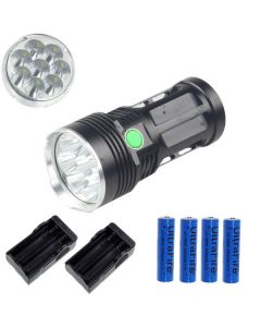 EternalFire King 8T6 8 * CREE XM-L T6 LED Torch 8000 Lumen 3 Modi LED Zaklamp-zwart-complete set