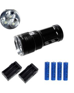 EternalFire King 3T6 3 * CREE XM-L T6 LED-torch 3000 Lumen 3-modi LED-zaklamp-zwart-complete set