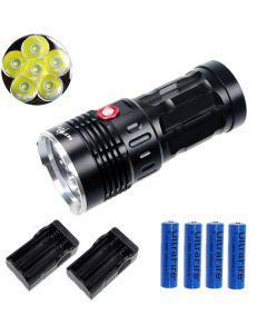 EternalFire King 6T6 6 * CREE XM-L T6 LED Torch 6000 Lumen 3 Modi LED-zaklamp-zwart-complete set