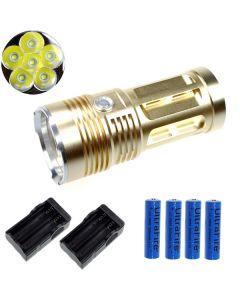EternalFire King 6T6 6 * CREE XM-L T6 LED Torch 6000 Lumen 3 Modi LED Zaklamp-Glod-Complete Set
