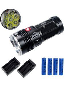 EternalFire King 7T6 7 * CREE XM-L T6 LED Torch 7000 Lumen 3 Modi LED-zaklamp-zwart-complete set