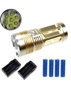 EternalFire King 7T6 7 * CREE XM-L T6 LED Torch 7000 Lumen 3 Modi LED Zaklamp-Glod-Complete Set
