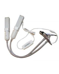 Grow Light, 50W Full Spectrum Grow Lamp, Dual Head Gooseneck Plantlichten voor binnenplanten met vervangbare lamp, 3 schakelmodi