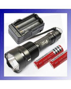 UltraFire C12 CREE XM-L T6 1300 Lumen 5 Modi LED-zaklamp + 2 * 18650 Batterij + oplader